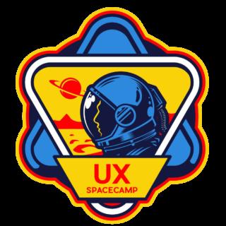 UX Spacecamp learn video game UI and UX logo huge