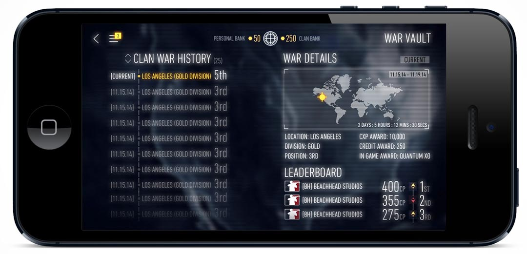 mobile UI example call of duty clan wars