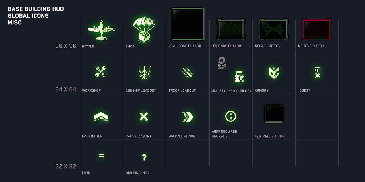 video game UI Artist iconography examples