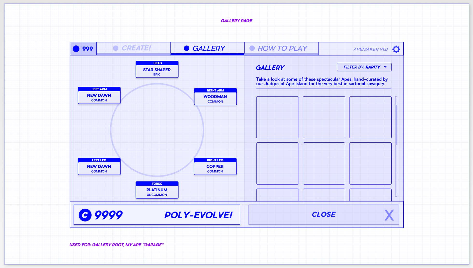 Game UI UX Design Course Inventory example grid