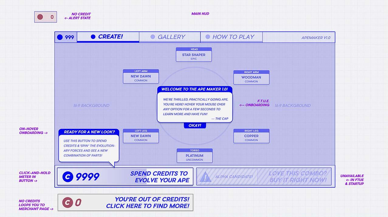 How to make a video game UI UX wireframe HUD design blockchain ape maker