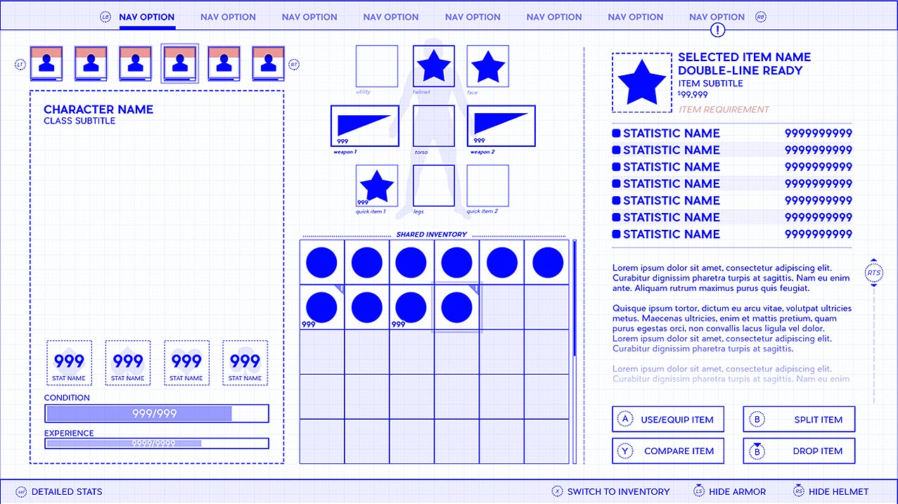 How to make a UI UX video game wireframe shell menu example