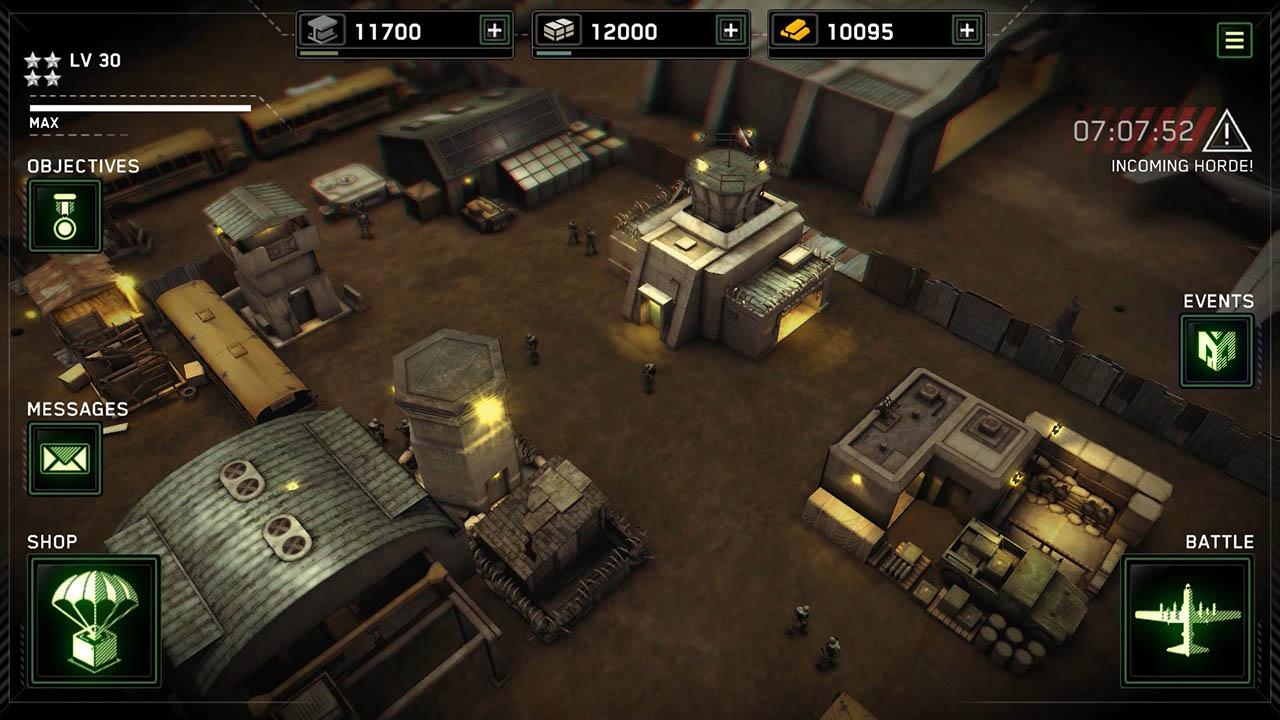 Video game mobile UI example zombie gunship survival HUD